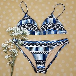 J. CREW Stripe Checker Triangle Black Blue Bikini